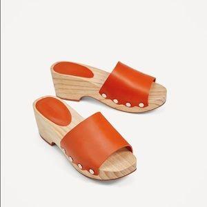 Zara Terra Cotta Leather Wooden Clog Slide Mules